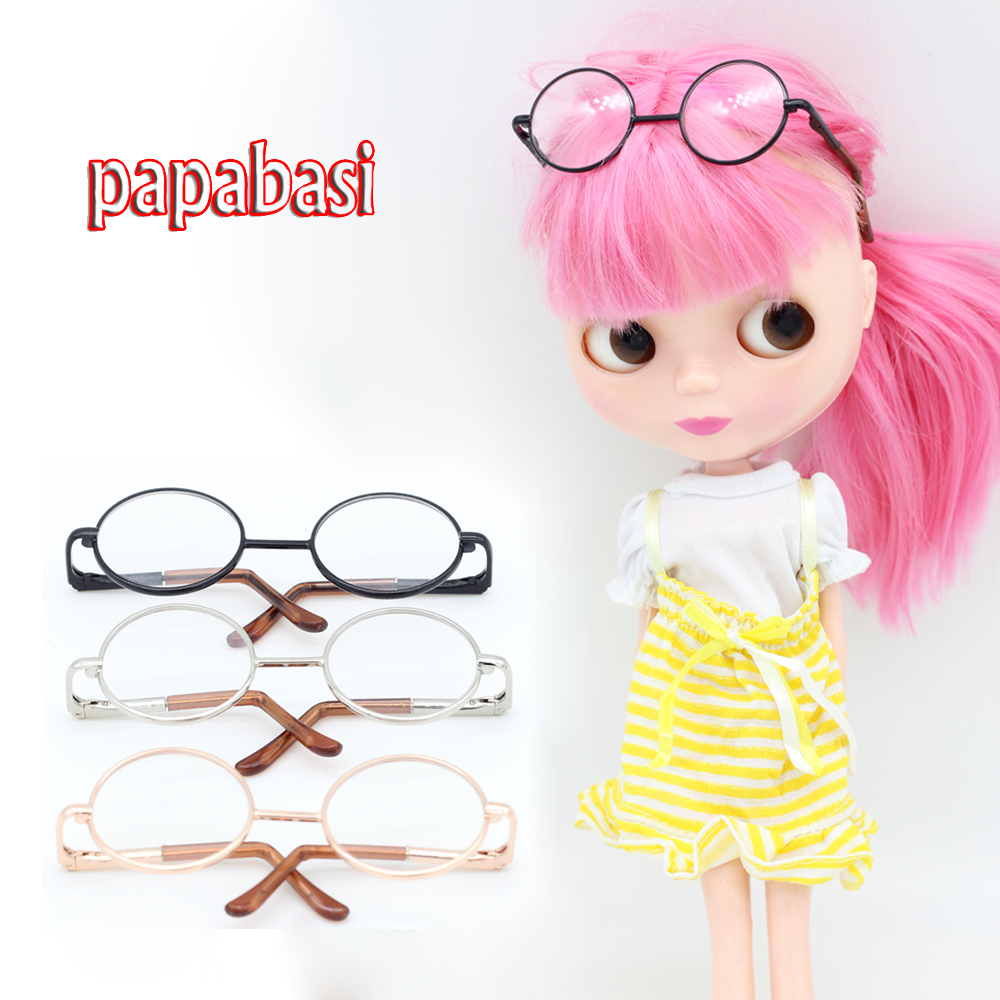 Papabasi 1pcs Doll Accessories Round Glasses Suit For Blythe BJD 1/6 Dolls + Mix Free Retail Packaging