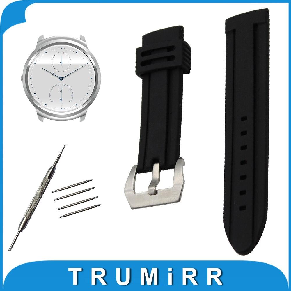 4ac6c2f947f3 22mm silicona caucho reloj banda + herramienta para ticwatch 1 46mm Acero  inoxidable pre-v Buckle correa pulsera cinturón pulsera negro