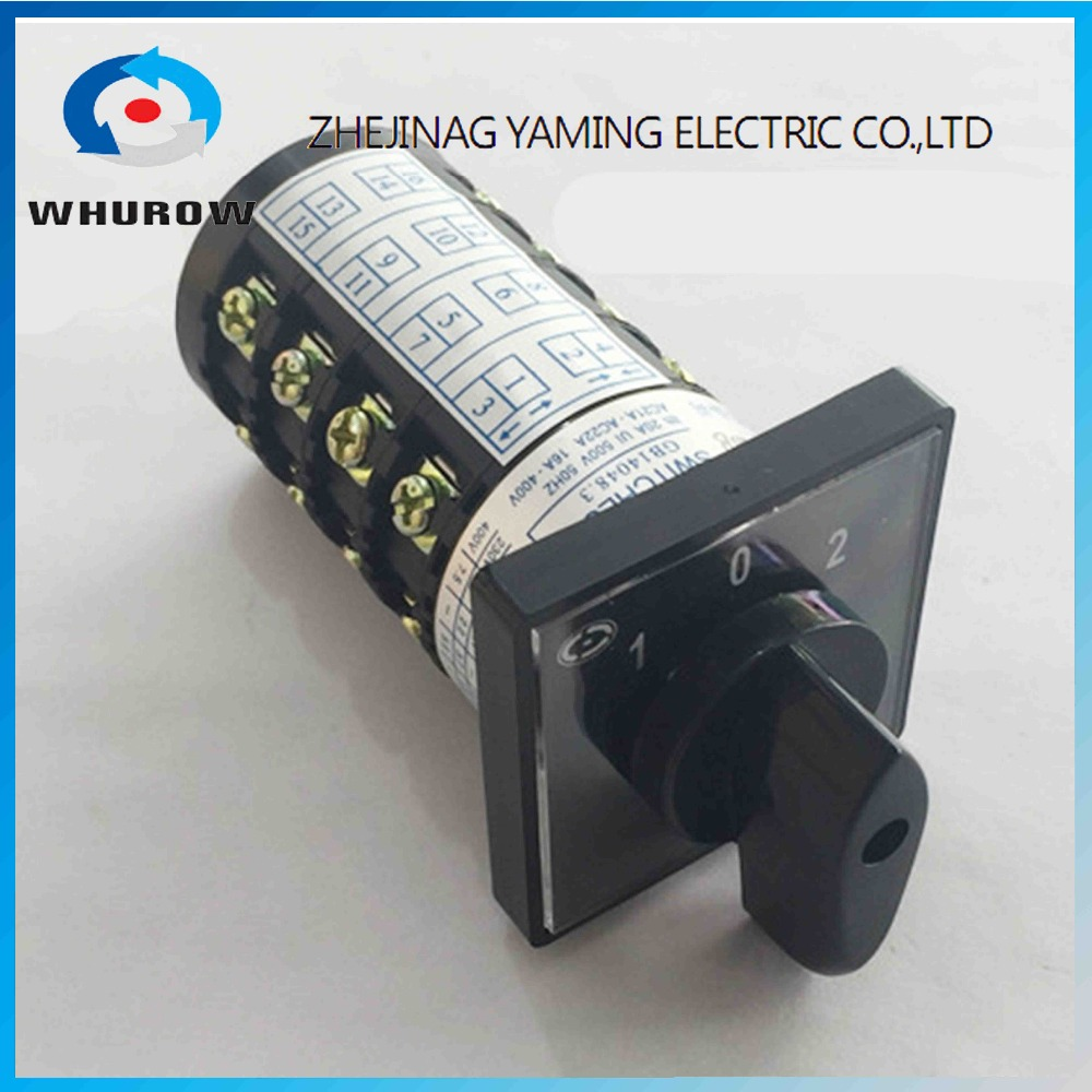 Rotary switch HZ5B-20/4 Electric 3 Position 1-0-2 16Terminals Rotary Cam Universal Changeover switch 20A 4 phasesRotary switch HZ5B-20/4 Electric 3 Position 1-0-2 16Terminals Rotary Cam Universal Changeover switch 20A 4 phases