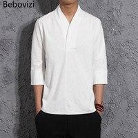 الصيف الرياح الصينية نمط الملابس رجل الكتان قميص بأكمام قصيرة فضفاضة سبع نقاط الأكمام قمصان الرجال القطن و الكتان أعلى