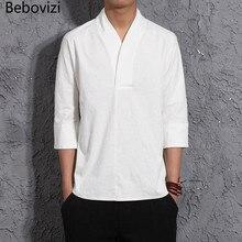 Sommer Chinesischen Wind Stil Kleidung Mann Leinen Kurzarmhemd Lose Sieben Punkt Ärmel Baumwolle und Leinen Shirts Männer Top
