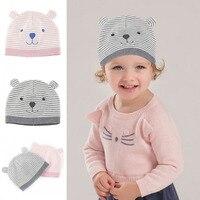 IMSHIE Winter Warm Baby Boys Girls Baby Hat Striped Bear Pattern Warm Cotton Wool Knitted Cap
