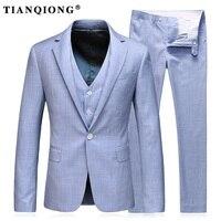 טיאן קיונג צפצף המעיל האחרונים עיצוב אדרה 100% פוליאסטר אור כחול חייט חליפות חתן בליזר לגברים חליפות חתונה גברים