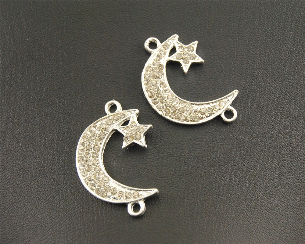 10 pcs Silver gold plated Rhinestone Moon Crescents Connector Bracelet Charm for jewelry necklace findings RS335 gold plated rhinestone heart circle charm bracelet