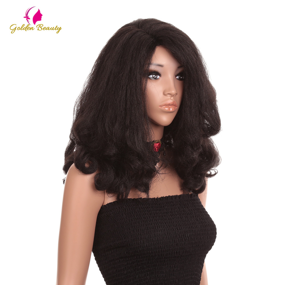 20inch Golden Beauty Afro Yaki Straight Wig High Density Heat Resistant Synthetic Hair Wave Wigs For Women