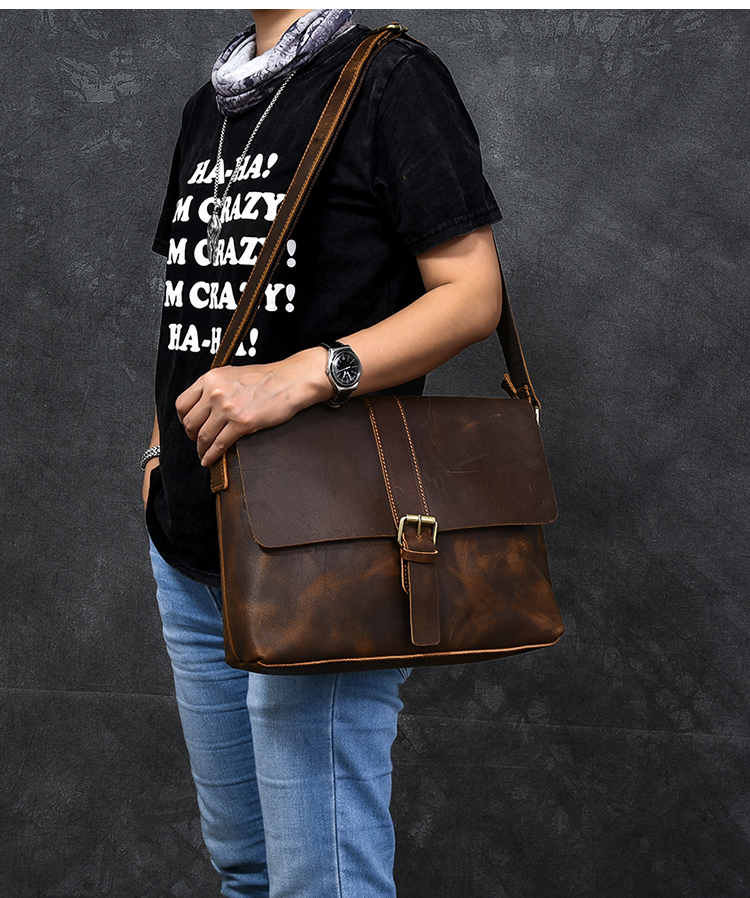 Luxury Leather Courier Bag leather strap