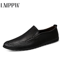 Summer Men Shoes Casual Luxury Brand 2019 Genuine Leather Mens Loafers Moccasins Italian Breathable Slip on Boat Shoes Big Size2