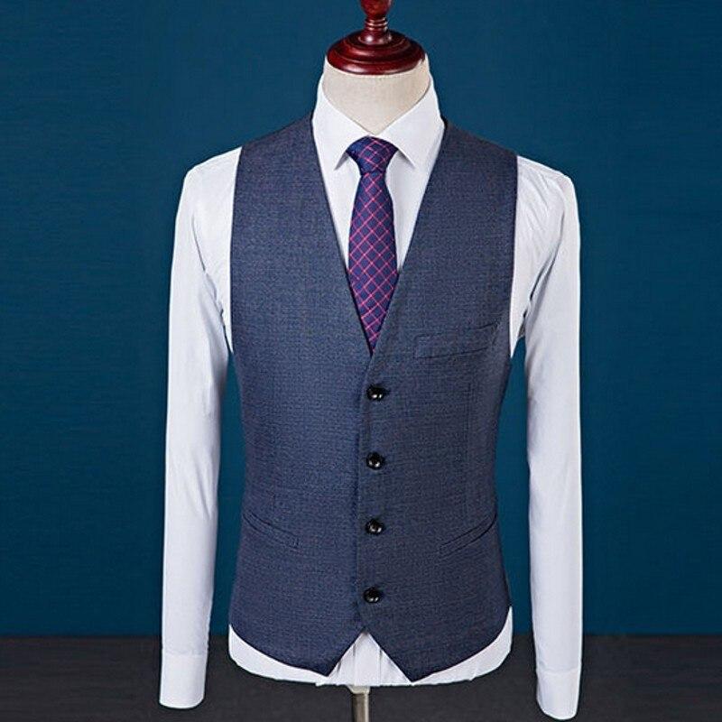 Nouveau Slim Fit hommes costumes mariage marié grande taille 4XL Gentleman affaires décontracté robe de smoking mâle gris foncé bleu 3 pièces costume - 2