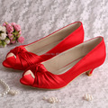 (20 Colors)2016 Dropshipping Big Size Women Shoes Red Satin Low Heeled High Quality