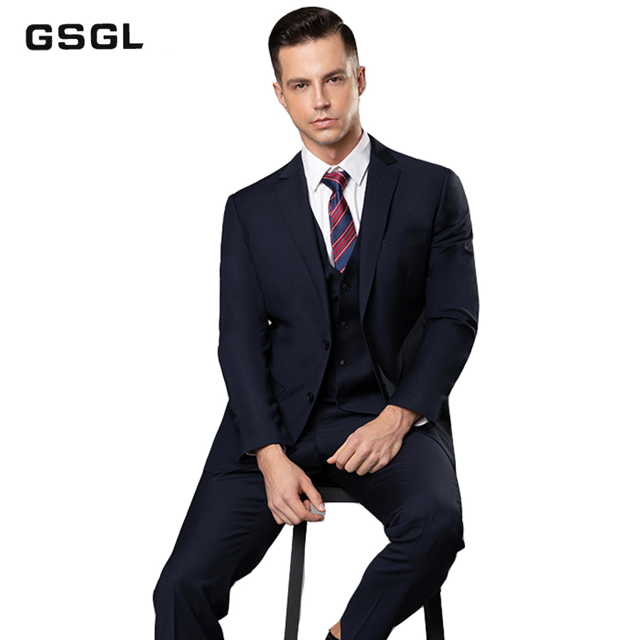Men's Two-Piece Classic Fit Office 2 Button Suit Jacket & Pleated Pants Set