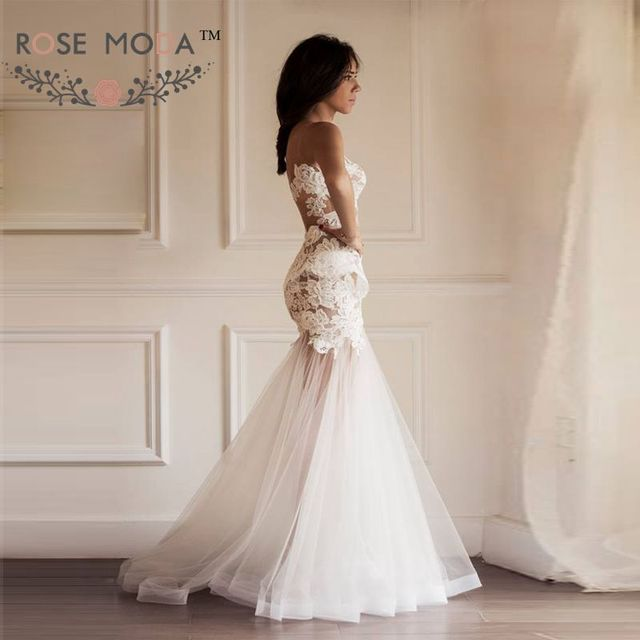 Sheer Back Lace Mermaid Wedding Dress with Detachable Puffy Tulle ...