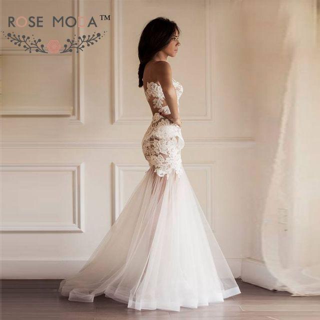 Sheer back lace mermaid wedding dress with detachable puffy tulle sheer back lace mermaid wedding dress with detachable puffy tulle skirt convertible wedding dresses vestidos de junglespirit Image collections