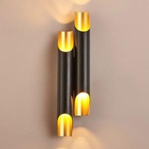 Image 4 - זהב נורדי פוסט מודרני קיר מנורת מינימליסטי יוקרה סגנון מעצב דגם חדר סלון רקע קיר חדר שינה מנורה שליד המיטה