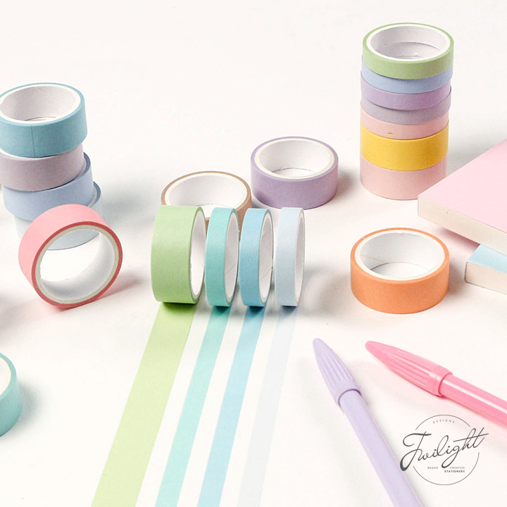 12 Colors/Set Macarons Color Washi Masking Slim Tape Paper Washi Tape DIY Scrapbooking Sticker, 15mm/8mm X 3m image