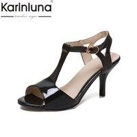 KARINLUNA Biggest Size 34 48 Peep Toe T Strap Women Shoes Fashion Thin High Heels Party