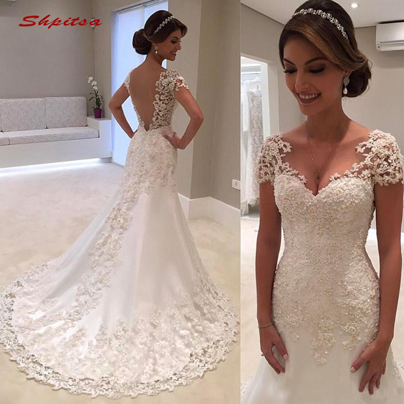 Sexy Lace Mermaid Wedding Dresses Turkey Plus Size Bride Bridal Weding Weeding Dresses Wedding Gowns 2019