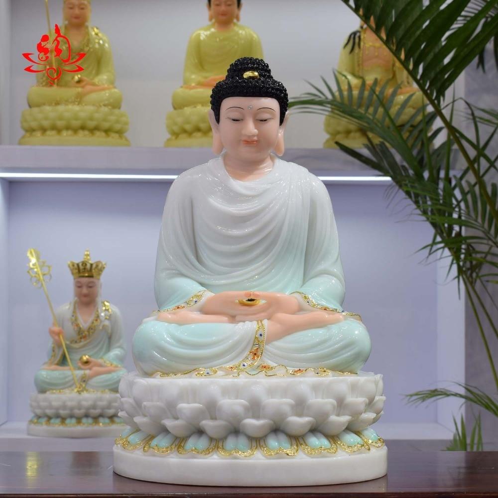 32CM Large - high-grade Home Hall efficacious Talisman Mascot Buddhist Sakyamuni Buddha white jade gilding Sculpture statue 32CM Large - high-grade Home Hall efficacious Talisman Mascot Buddhist Sakyamuni Buddha white jade gilding Sculpture statue