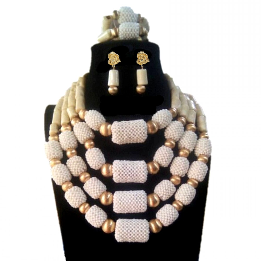 Dudo Store Necklace Set White Nature Coral + Crystal Balls Fine Jewelry Sets for Women Free Shipping 4 Layers Nigerian Weddings