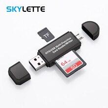 2 trong 1 USB OTG Đầu Đọc Thẻ tốc độ Cao USB2.0 Phổ TF/SD Bộ Nhớ Thẻ OTG Đọc cho android điện thoại Máy Tính Giao Diện USB