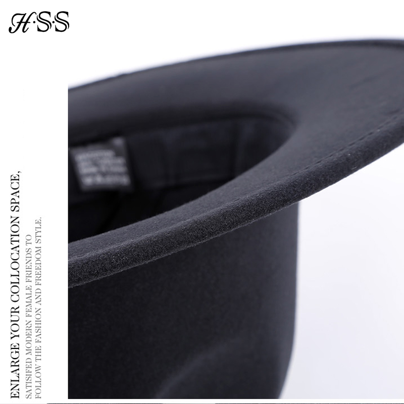 24167b40dcc HSS High Quality New Solid Color Woolen Hat Women s Spring Summer Fedora Cap  Retro Black Hats Couple England Leisure Jazz hat-in Sun Hats from Apparel  ...