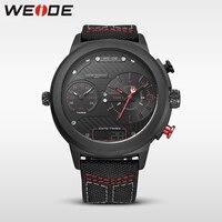 WEIDE reloj de lujo del deporte digital correa De Nylon Negro redondo grande dial Multi-zona horaria de cuarzo de los hombres reloj automático a prueba de agua analógico