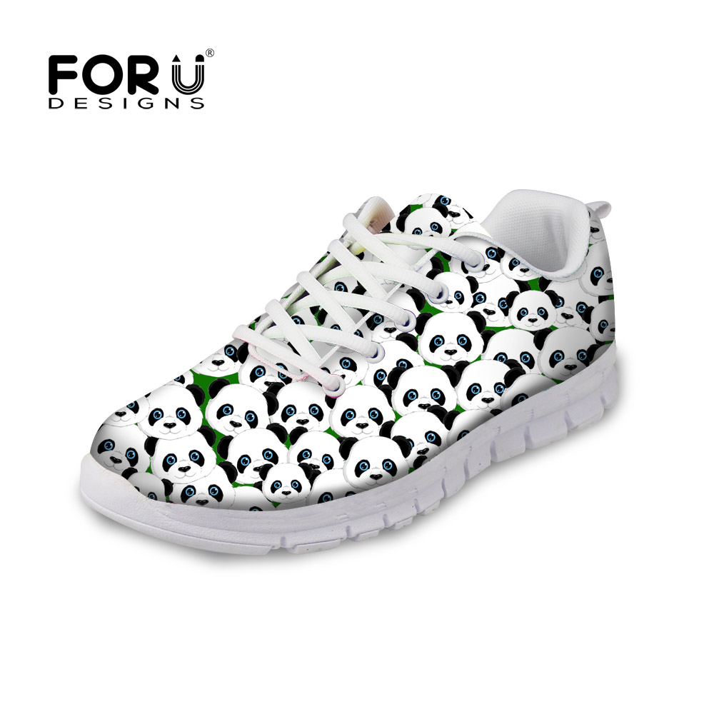 FORUDESIGNS Zapatos Mujer Casual Women Flats Shoes Cute Animal Panda Prints Flats Shoes for Lady Girls Light Weight Spring Shoes instantarts women flats emoji face smile pattern summer air mesh beach flat shoes for youth girls mujer casual light sneakers