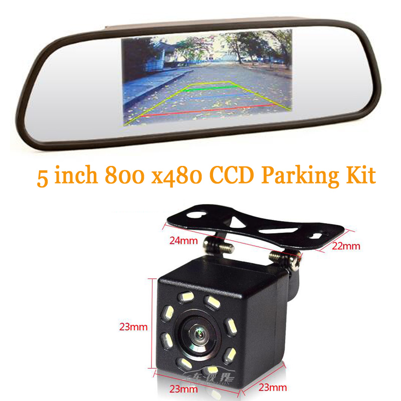High Resolution 5 inch Car Mirror Mirror 2CH Video Input 800 * 480 DC 12 V night vision universal Rear view camera CCD 8 Leds