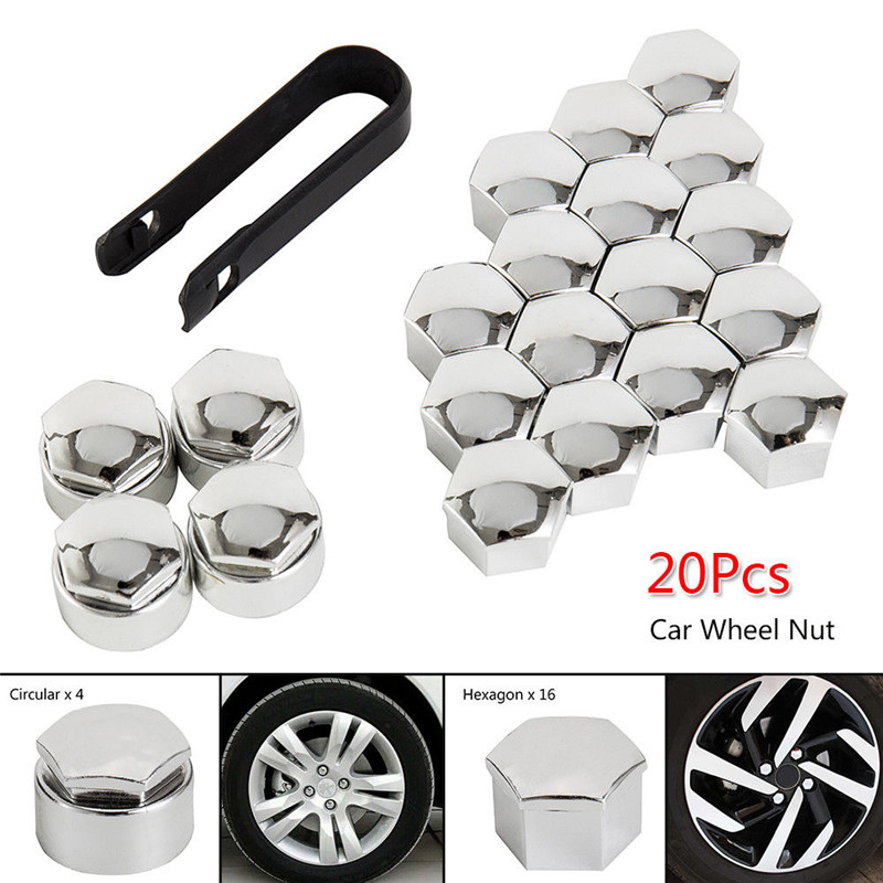 20pcs 17mm Wheel Nut Bolt Head Cover Cap Electroplate Tire Screw Bolts Hub