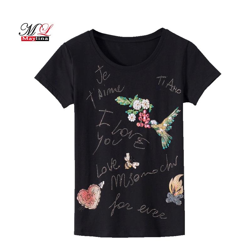 MLinina T-Shirt Women Summer 2018 New Casual Tshirt Black White Cotton Top Tee Sequins Kawaii Bird Flower Women Plus Size Shirt