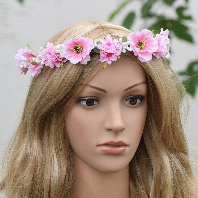 Bridal Flower Crown Spring Floral Crown Pastel Hair Band Wreath Flower Girl  Headband Wedding Adult Summer Queen Fairy Wedding 12654d2fd45