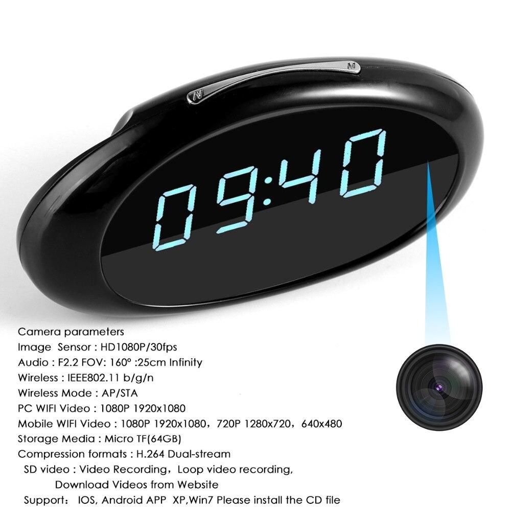 SOONHUA 1080P WiFi Camera Table Alarm Clock Setting Mini