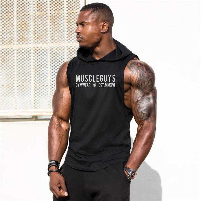 Muscleguys Bodybuilding Stringer Sleeveless Hoodie Vest Gyms Tank Tops For Men Singlets Shirt Cotton Fitness Sporting Clothing