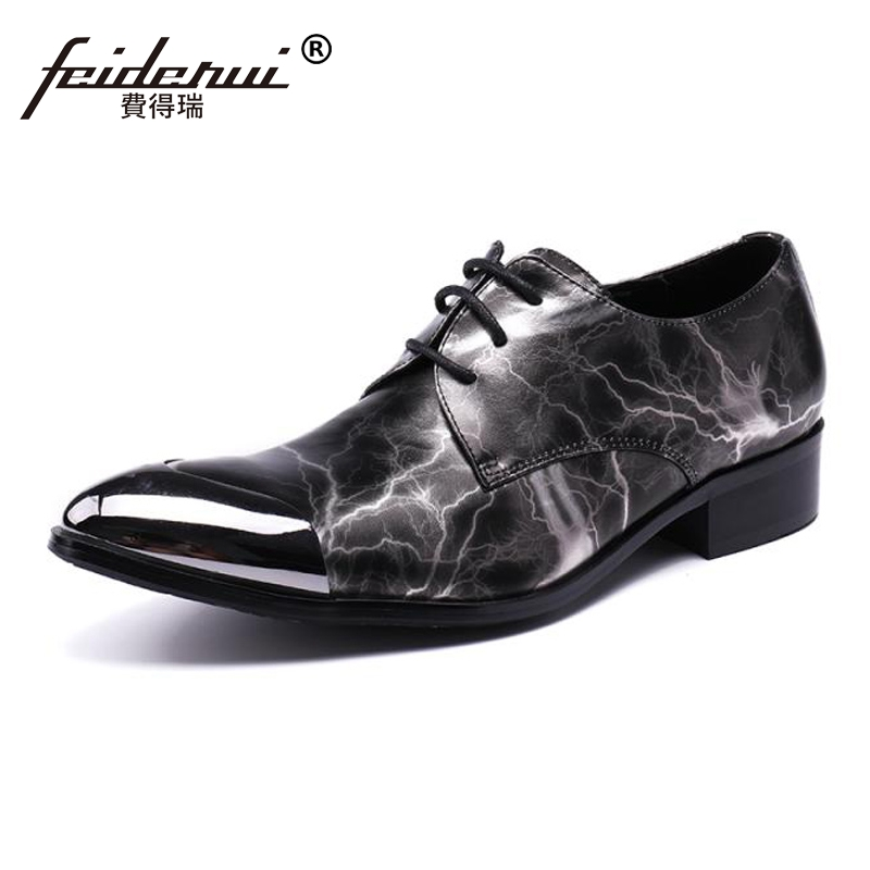 Plus Size High Quality Pointed Toe Lace up Man Dance Prom Footwear Genuine Leather Derby Men
