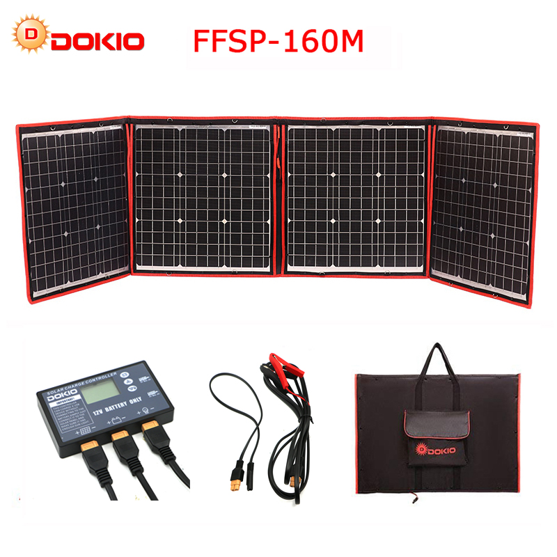 Dokio 160W 18V Black Solar Panels only China Foldable 12 24V Volt Controller portable 160Watt Panels