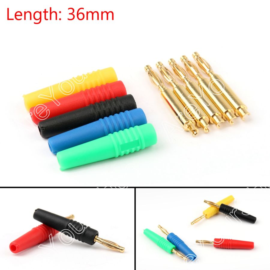 Areyourshop Sale 50PCS 5Color 2mm Gold Banana Male Plug Audio Adapters For Instrument Test Probes  M 1pcs yt191 high voltage 4 mm banana plug test lead cable wire 100 cm for multimeter the probes gun type banana plugs