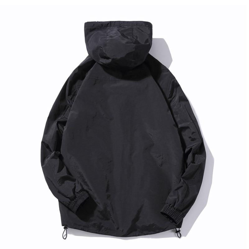 Hiver nouveau Design Simple épais chaud à capuche veste hommes noir gris couleurs jeunesse mode lâche coupe vent vestes manteaux 4XL 5XL - 3