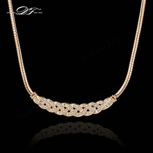 DFN016M Waltz of Love Rose Gold Color Choker Chain Necklace & pendants Fashion Cubic Zirconia Jewelry For Women colares joias