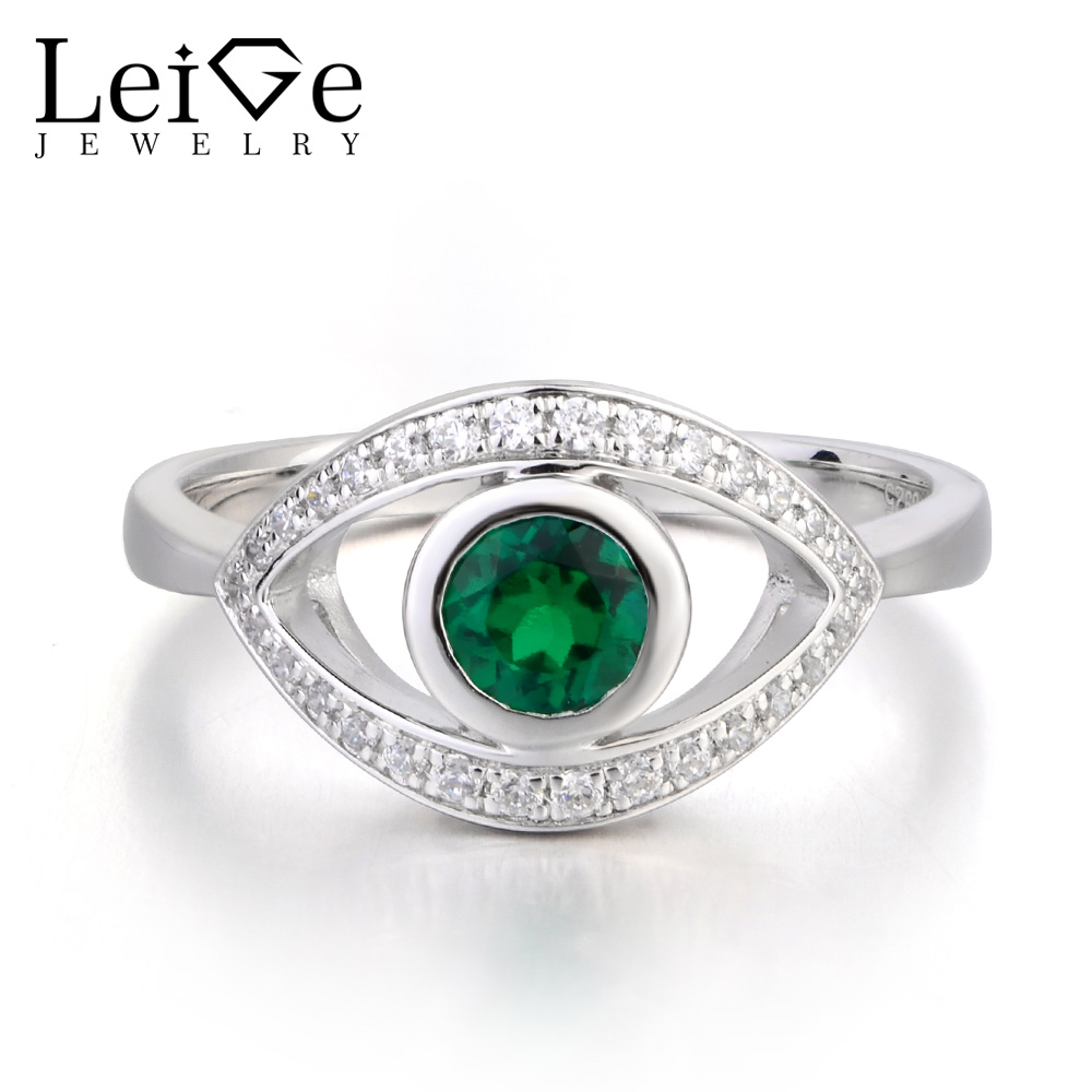 Leige Jewelry Lab Emerald Ring Anniversary Ring Round Cut Green Gemstone May Birthstone Evil Eye 925 Sterling Silver JewelryLeige Jewelry Lab Emerald Ring Anniversary Ring Round Cut Green Gemstone May Birthstone Evil Eye 925 Sterling Silver Jewelry