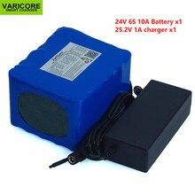 Литиевая батарея 24 В 10 Ач 6S5P 18650, аккумулятор 24 В для электрического велосипеда, мопеда/электрического литий ионного аккумулятора + зарядное устройство 25,2 в 2 А