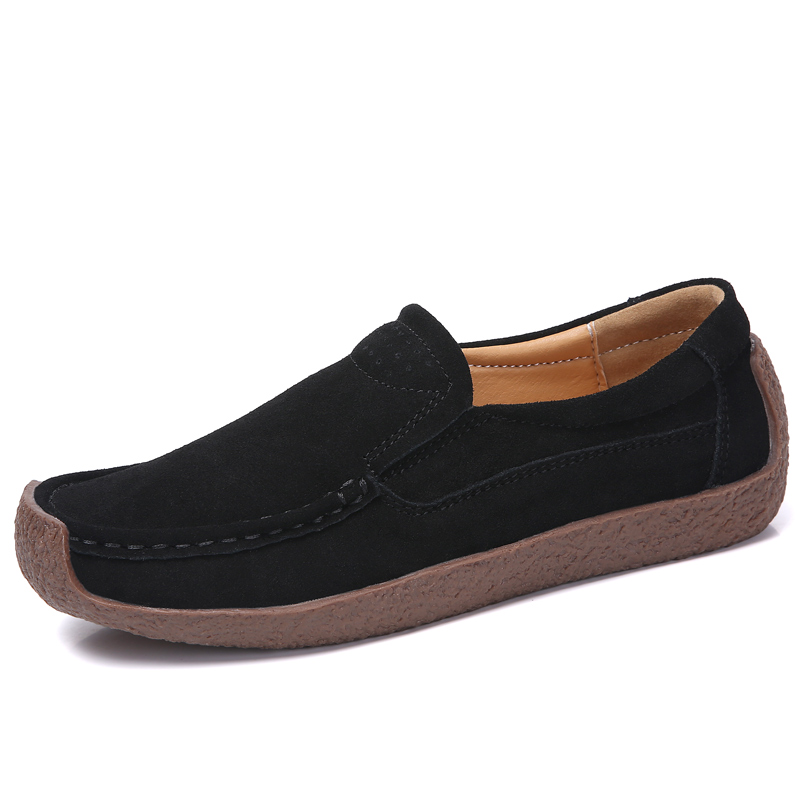 2019 Spring Moccasins Women 39 s Flats Genuine leather Shoes Woman Lady Loafers Slip On Suede Shoes mocasines mujer Yasilaiya in Women 39 s Flats from Shoes
