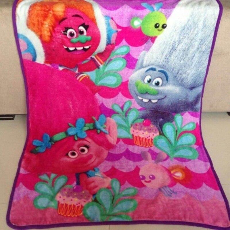 New Cartoon Warm Trolls Mini Blanket Soft Blanket on Bed Coral Fleece Warm Throw Blankets Travel Blanket for Kids Baby 100 140cm