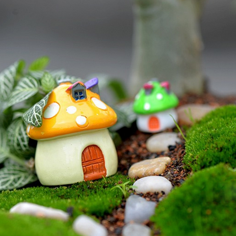 2019 New Garden Ornament Mushroom House Resin Figurine Craft Plant Pot Fairy Decoration Garden Supplies