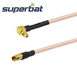 Superbat mmcx macho plug ângulo direito para mmcx fêmea jack trança reta cabo rg316 15cm