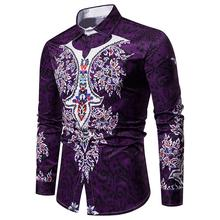 Long-sleeved Hawaiian Shirt Ethnic style Floral print Lapel Blouse Men Mens Shirts