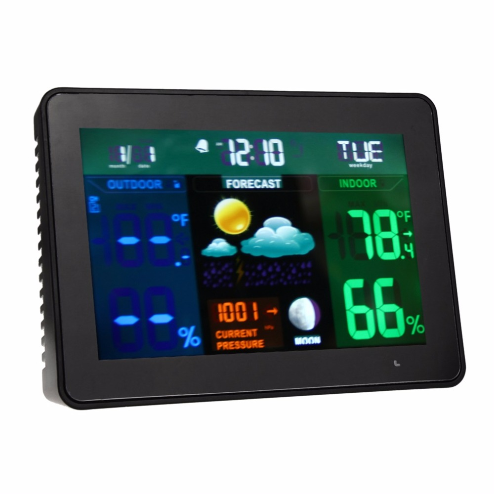 High Accuracy TS-71 Colorful LCD Digital <font><b>Thermometer</b></font> Hygrometer Weather Clock Alarm + 2 x Transmitter Black 2017 Top Sale