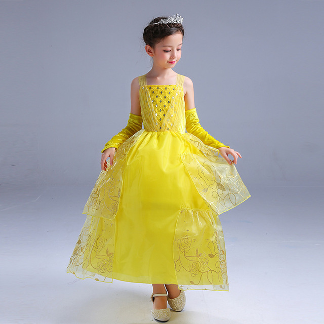 2018 summer new yellow girls dresses children teenagers cosplay party belle dress kids halloween gowns carnival