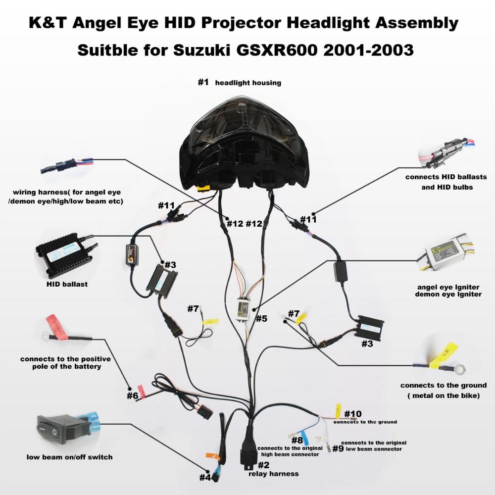 medium resolution of kt full headlight for suzuki gsxr600 gsx r600 2001 2002 2003 led angel eye motorcycle hid