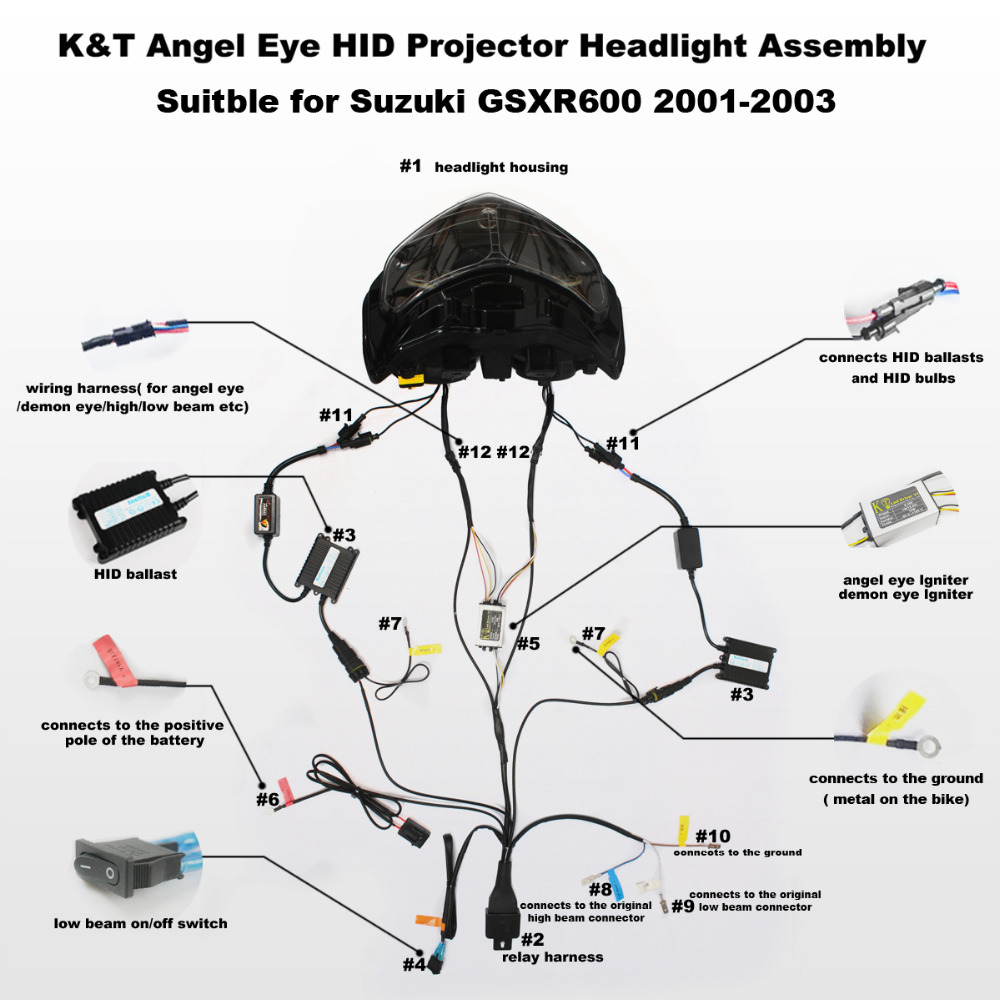 kt full headlight for suzuki gsxr600 gsx r600 2001 2002 2003 led angel eye motorcycle hid [ 1000 x 1000 Pixel ]