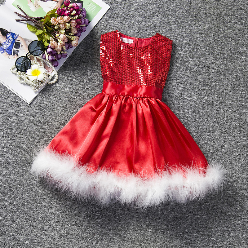 Free shipping Children's Europe and american style holiday costumes girlsChristmas red sequins princess gauze dress JQ-2016