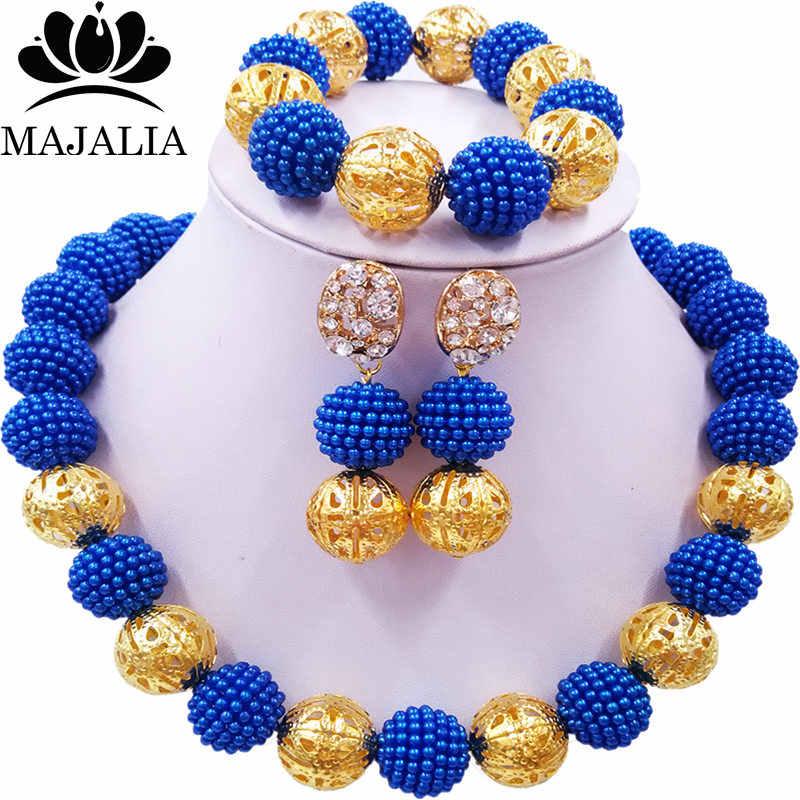 Majalia Thời Trang Cổ Điển Nigeria Wedding Beads Phi Jewelery Thiết Lập Màu Xanh Vòng Cổ Pha Lê Đồ Trang Sức Cô Dâu Thiết Vận Chuyển Miễn Phí 1ZQ006